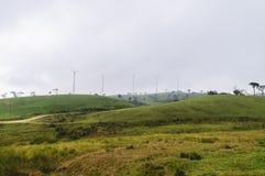 Väderkvarnar på kullen Arkivbilder