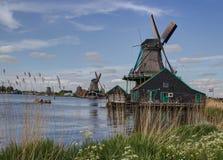 Väderkvarnar på Zaanse Schans, Holland arkivbilder