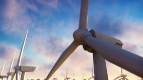 Väderkvarnlantgård på soluppgång mot windmillen för blå sky Realistisk loopable animering stock video
