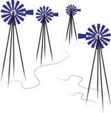 Väderkvarnuppsättning royaltyfri illustrationer