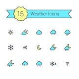 Väderlägenhetlinje minsta färgsymboler för din app och website Royaltyfri Fotografi