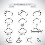 Väderlinje symbolsuppsättningvektor vektor illustrationer