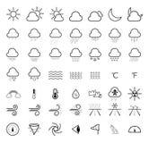 Väderprognoslinje symbolsuppsättning vektor illustrationer