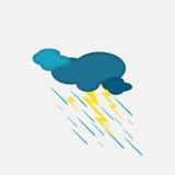 Vädersymbol av det regniga molnet och blixten Arkivfoton