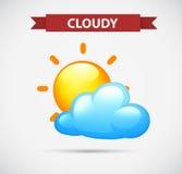 Vädersymbol med molnigt och solen Arkivfoto