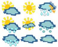 Vädersymboler Arkivbilder