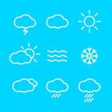 Vädersymboler med blå bakgrund Arkivbild