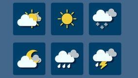 Vädersymboler, moln och sol royaltyfri bild