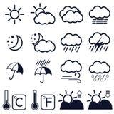 16 vädersymboler på vit bakgrund Arkivbilder