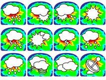 Vädersymboler - sol med moln etc. Arkivbilder