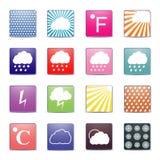 Vädersymboler, vektorillustration Arkivbild