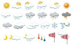 Vädersymbolssamling Arkivbild