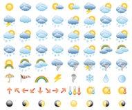 VädersymbolsSet Arkivfoton