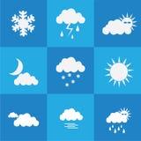 Vädersymbolsuppsättning på blå bakgrund Royaltyfri Bild