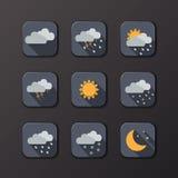 Vädervektorsymboler Plan design Göra perfekt för din applikation stock illustrationer
