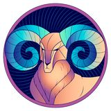 Vädur med den blåa vektorn för horoskop för hornzodiaktecken royaltyfri illustrationer