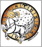 Vädur och zodiaktecknet. Horoskopcirkel. Vektor Royaltyfri Illustrationer