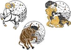 Väduren Oxen, kopplar samman kvinnlig och zodiaktecknet. Hor Vektor Illustrationer