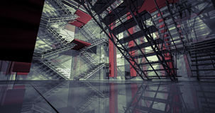 väg 3d Modern industriell inre, trappa, rengöringutrymme i indus Royaltyfri Fotografi