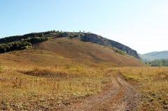 Väg för Ð-grus i fält Arkivfoton