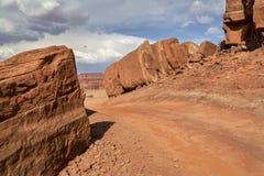 Väg för öken 4WD nära Moab, Utah Arkivbild