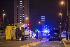 väg för motorway för olycksbilkrasch Royaltyfria Bilder