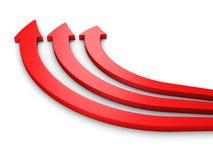 Väg för tre röd pilar framåtriktat på vit Arkivfoto