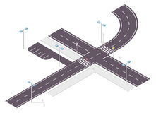 Väg gatatrafik, informationsdiagram, föreningspunktcrossway på vit Illustration av tvärgataströmförsörjningen och sidovägen Arkivfoton