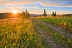 Väg i ängar och det härliga sunset arkivbild
