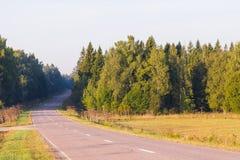 Väg i den tidiga höstliga skogen, morgonsikt arkivbilder
