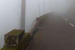 Väg i en dimma i ett moln i bergen av madeiraön, Portugal Arkivfoto