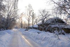 Väg i snow royaltyfri foto
