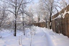 Väg i snow arkivbilder