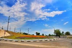 Väg i staden av Novorossiysk, Ryssland Fotografering för Bildbyråer