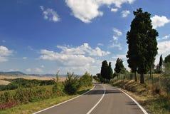 Väg i Toscana Arkivfoton
