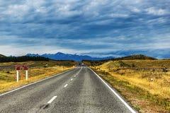 Väg längs lavendellantgården och sjön Pukaki i Nya Zeeland royaltyfri foto