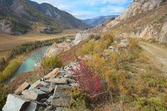 Väg M52 från Siberia till Mongoliet Arkivbilder