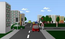Väg med röd trafikljus, kulöra bilar och vägmärket: järnväg arkivbild