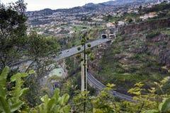 Väg med tunneler till Funchal Royaltyfri Fotografi