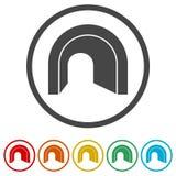 Väg med tunnelsymbolen, 6 inklusive färger Fotografering för Bildbyråer