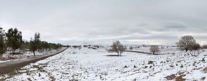 Väg och snö Fotografering för Bildbyråer