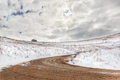Väg och snö Arkivfoton