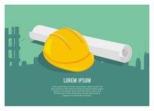 Väg-och vattenbyggnad/enkel illustration för arkitekturprojekt Arkivbild