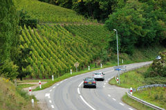 Väg och vingårdar på Kaysersberg, Frankrike Arkivfoto