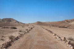 Väg på den Negev öknen Arkivbild
