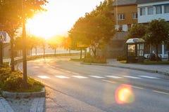 Väg på solnedgången Fotografering för Bildbyråer