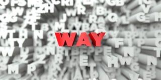 VÄG - Röd text på typografibakgrund - 3D framförde fri materielbild för royalty stock illustrationer