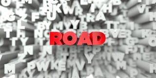 VÄG - Röd text på typografibakgrund - 3D framförde fri materielbild för royalty vektor illustrationer