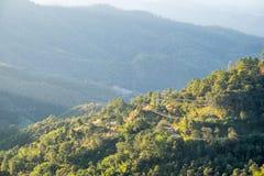 Väg som är lantlig i dalen på aftonen Arkivbilder