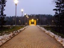 Väg som leder till en liten bro Royaltyfria Bilder
